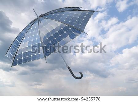 open solar photovoltaic umbrella stick concept - stock photo