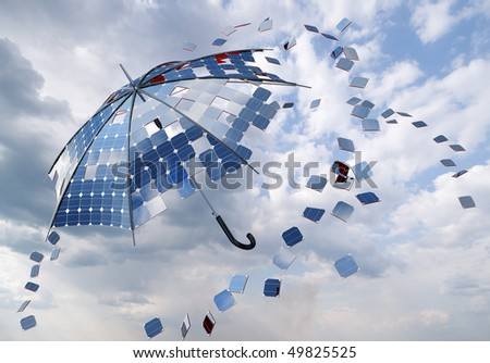 open solar photovoltaic umbrella stick. solar energy concept