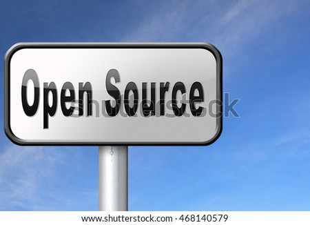 Open source program software program or economy freeware internet data computer sharing 3D illustration