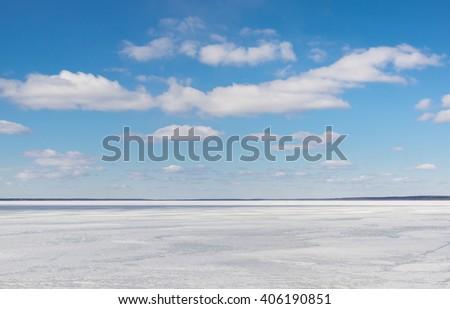 Open space. Lake Pleshcheevo at Pereslavl-Zalessky, Yaroslavl region, Russia - stock photo