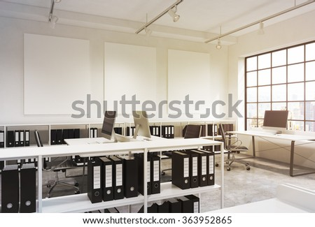 Open space office, big window to the right, New York view, tables with computers, office chairs, shelves with folders, lamps on the ceiling, three white boards on the wall. 3D rendering.