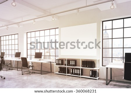 Open space office, big windows with New York view, tables with computers, office chairs, shelves with folders, lamps on the ceiling, big white board between windows. Concept of work - stock photo