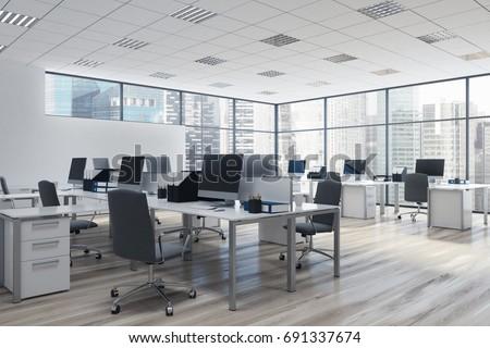 Open space office environment rows computer stock for Conception bureau open space