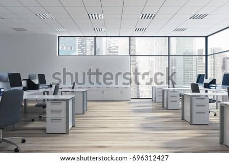 office room. Open Space Office Environment Rows Computer Arkistokuvitus 696312427 \u2013 Shutterstock Room