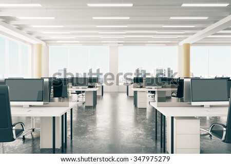 Open space office in loft style hangar with windows in floor and city view 3D Render - stock photo