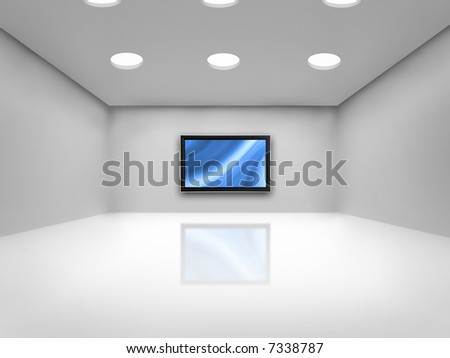 Open space with a plasma tv on the wall reflected on the floor - stock photo
