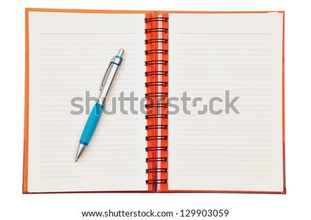 Open Spiral Bound Notebook and pen Isolated on White - stock photo