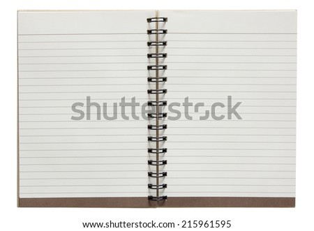 open spiral notebook isolated on white background with clipping path - stock photo