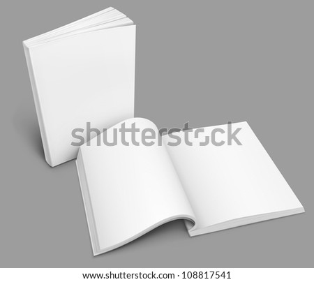 open spread of book with blank white pages rasterized vector illustration - stock photo