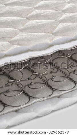 Open spring and foam - latex bonnell mattress cross section - stock photo