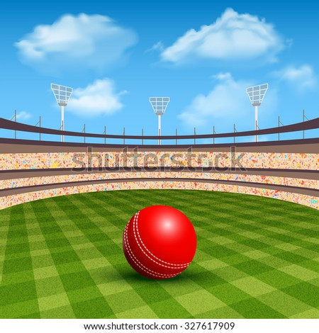 Open stadium of cricket with realistic red leather ball  illustration - stock photo