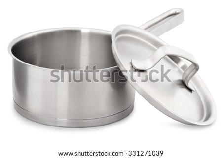 Open stainless steel cooking pot isolated on white - stock photo