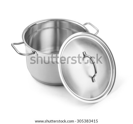 Open stainless steel cooking pot isolated on white with clipping path - stock photo