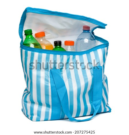 Open standing blue striped cooler bag with full of cool refreshing drinks, isolated on white - stock photo