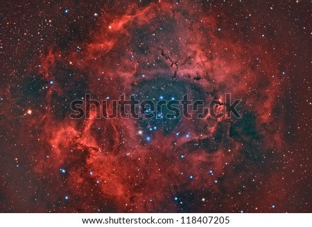 open star cluster an H II region in the constellation of monoceros - stock photo