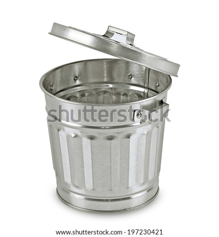 Open steel trash can isolated on white. - stock photo