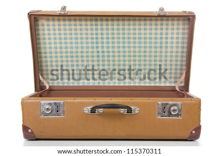 open suitcase isolated on white. close up - stock photo