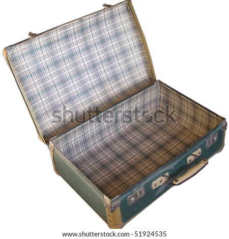 Open suitcase isolated over a white background