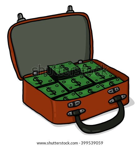 Open suitcase with money illustration - stock photo