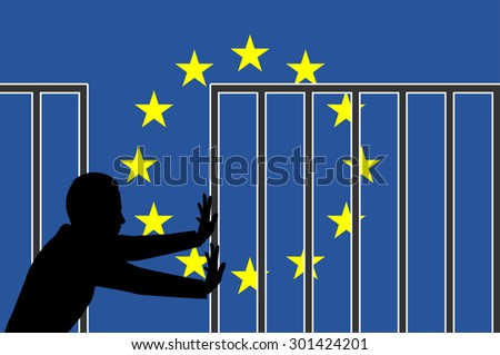 Open the Borders of Fortress Europe. Concept sign and appeal for humanitarian asylum policy in Europe - stock photo