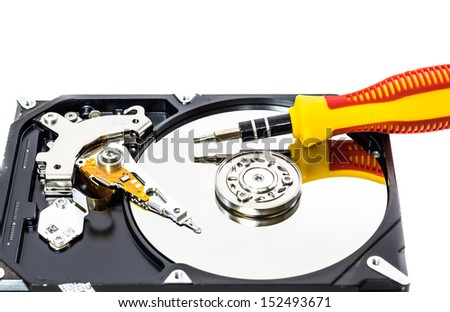 Open the Hard disk isolated on a white background - stock photo