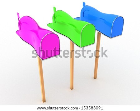 Open the mailbox on a white background #7 - stock photo