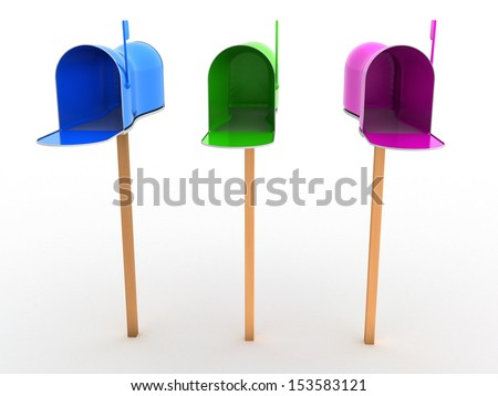 Open the mailbox on a white background #6 - stock photo