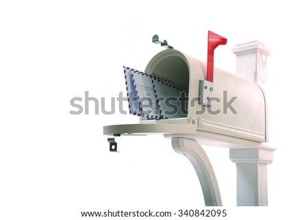 Open the mailbox with letters on white background - stock photo
