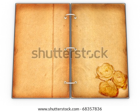 Open the menu - diary made of leather and old paper on white background �1 - stock photo