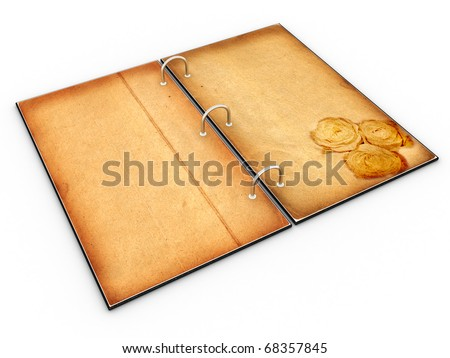 Open the menu - diary made of leather and old paper on white background �3 - stock photo