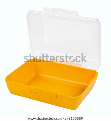 Open the plastic lunch box isolated on white background - stock photo
