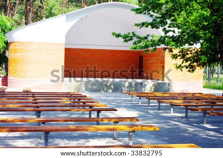 open theater wood seats. Outdoor theater. - stock photo