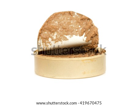 Open tin can of paste with lid isolated on a white background - stock photo