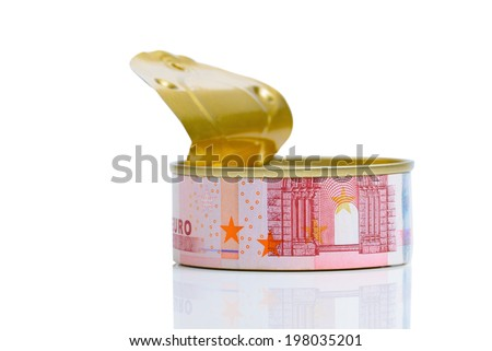 Open tin can with Euro banknote label, isolated on white background - stock photo
