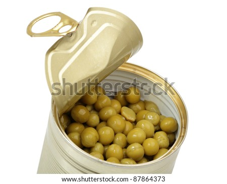 Open tin can with Green Pea - stock photo
