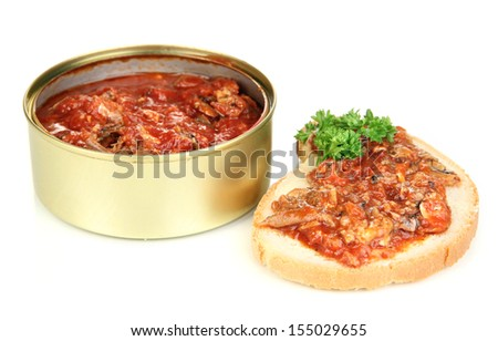 Open tin can with sardines and tomato sauce, isolated on white - stock photo