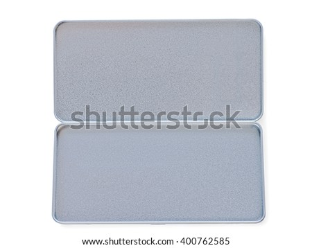 Open tin-plate textured box isolated on white with clipping path - stock photo