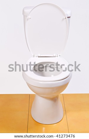 open toilet bowl isolated on glaze tile - stock photo