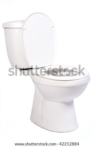 open toilet bowl isolated on white background - stock photo