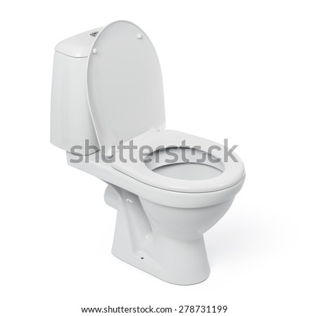 Open toilet bowl isolated on white background. File contains a path to isolation.  - stock photo