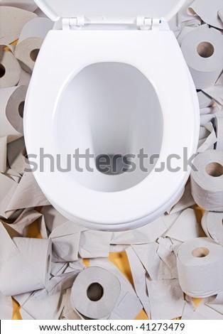 open toilet bowl with toilet-paper - stock photo