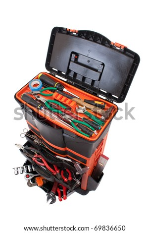 Open tool box with tools isolated on white background - stock photo