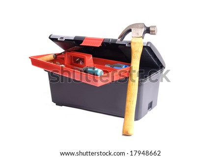 open toolbox with lots of tools in a white background