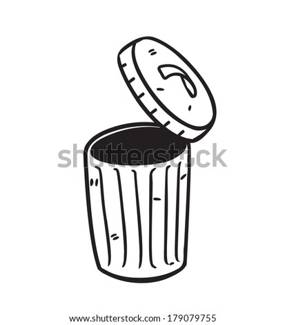 open trash bin in doodle style  - stock photo