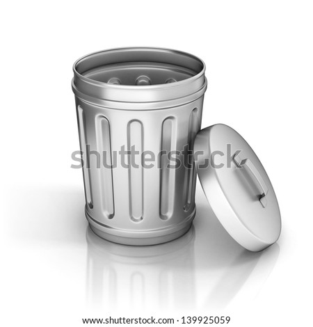 open trash can - stock photo