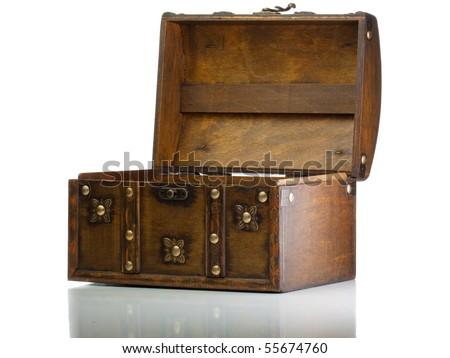 Open treasure box isolated on white - stock photo