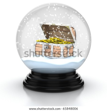 open treasure chest within snow dome 3d illustration