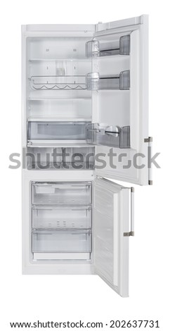 Open two door white refrigerator isolated on white - stock photo