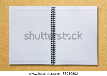 Open Two Pages Notebook on Brown - stock photo