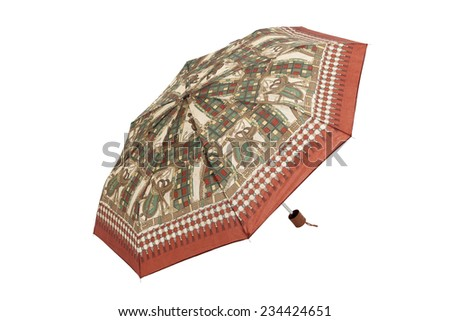 Open umbrella isolated on white with clipping path - stock photo